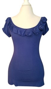 Anthropologie Ruffle T Shirt blue