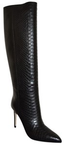 Gucci Leather Snakeskin Python Black Boots