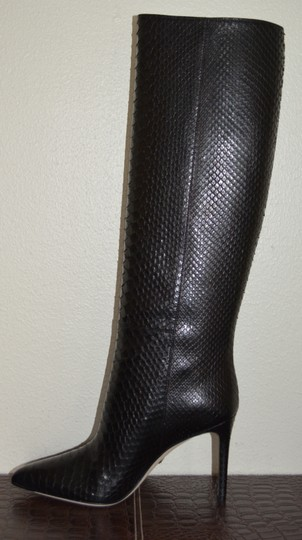 Gucci Leather Snakeskin Python Black Boots Image 1