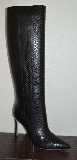 Gucci Leather Snakeskin Python Black Boots Image 3