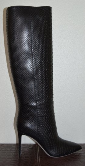 Gucci Leather Snakeskin Python Black Boots Image 7