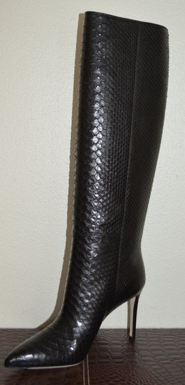 Gucci Leather Snakeskin Python Black Boots Image 8