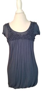 Anthropologie Ruffle Summer T Shirt blue