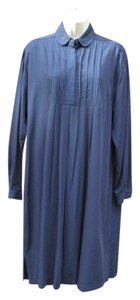 Laura Ashley Pleated Shirt Slits Popover Embroidered Dress