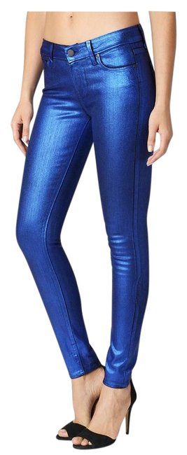 Item - Galaxy Blue Coated Indio Zip - Coating Skinny Jeans Size 27 (4, S)