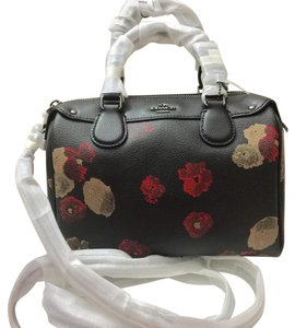 Coach Satchel in Black Floral Multi