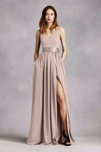 White By Vera Wang Biscotti V-neck Halter Gown With Sash, Style: Vw360214 Dress