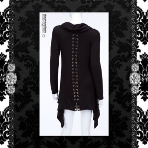 Other Lace Up Turtleneck Asymmetrical Long Sleeve Tunic Sweater
