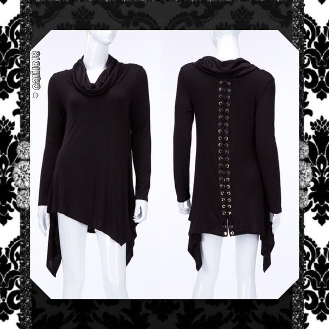 Other Lace Up Turtleneck Asymmetrical Long Sleeve Sweater Image 3