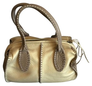 Carlos Falchi Leather Satchel in Dark Gold