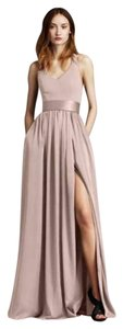 White by Vera Wang Modern Satin V-neck Party Halter Dress