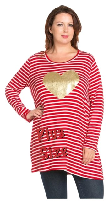 Preload https://img-static.tradesy.com/item/20232280/red-and-white-gold-heart-last-2x-new-striped-jersey-dress-tunic-size-20-plus-1x-0-1-650-650.jpg