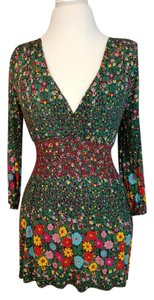 Anthropologie Floral Green Spring Top green- multi