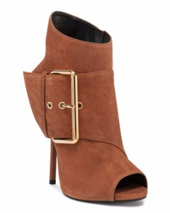 Giuseppe Zanotti Peep Toe Ankle Suede Brown Boots