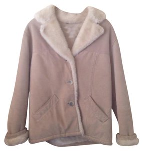 Guess Suede Leather Beige Leather Jacket