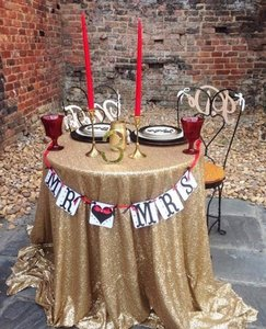 5 Champagne Sequin Tablecloth And 1 Matte Gold Sequin Tablecloth