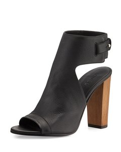 Vince Bootie Peep Toe Leather Black Boots