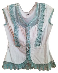 Anthropologie Blouse Lace Trim Button Down Shirt mint