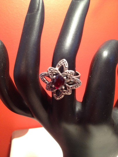 Other Garnet and Marcasite Sterling Silver Ring Image 2