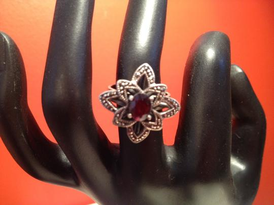 Other Garnet and Marcasite Sterling Silver Ring Image 3