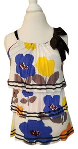 Anthropologie Ruffle Floral Print Summer Top multi