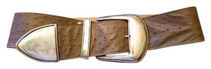 """Al Beres Vintage 3"""" Wide Embossed Ostrich Leather Belt With Silver Accents"""