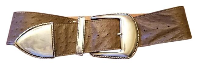 """Item - Taupe Vintage 3"""" Wide Embossed Ostrich Leather with Silver Accents Belt"""