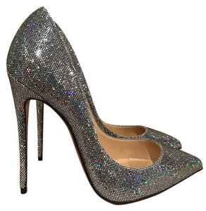 Christian Louboutin Pigalle Follies Kate Stiletto Glitter silver Pumps