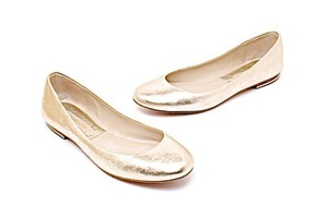 Michael Kors Pebble Leather Ballet Gold Flats