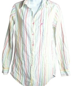 Victoria's Secret Button Down Shirt White And Pink Striped