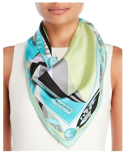 Emilio Pucci NWT AUTHENTIC EMILIO PUCCI SILK SCARF WRAP TURQUOISE GREY ITALY $300
