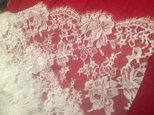 Rivini Chantilly Lace Ivory Extra Fabric- 1 Yard