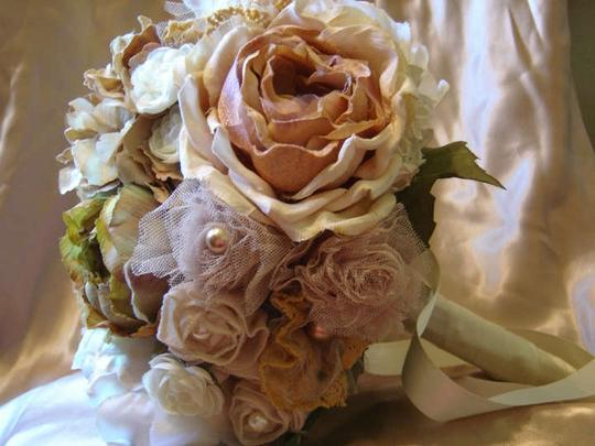 Ivory Gold Champagne & Cream Bridal Bouquet Ceremony Decoration
