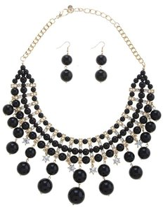 Nordstrom Beaded Cluster Bib Necklace & Earrings