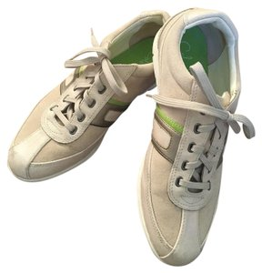 Cole Haan Leather Sneaker Fashion Sneaker ivory and lime Athletic