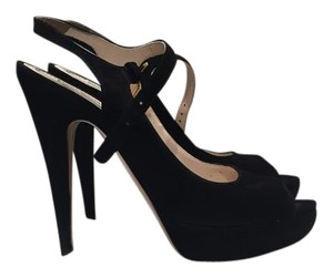 Prada Stiletto Peep Toe Black suede peep-toe slingback Pumps