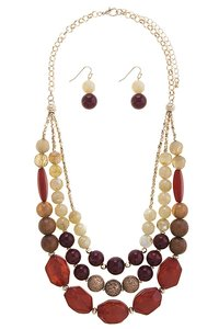 Nordstrom Mixed Stone Warm Color Strand Necklace