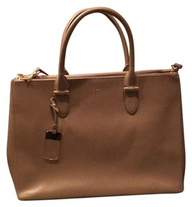 Ralph Lauren Saffiano Leather Work Newbury Satchel in Beige