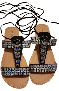 Qupid Boho Lace-up Lace-up Sandals