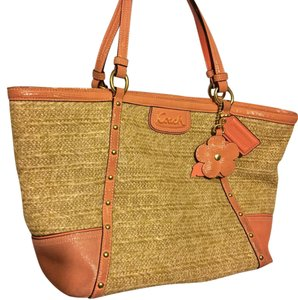 Coach Tote in Coral And Straw