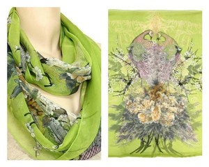 Peacock Infinity Scarf - Polyester - Spring Green - New