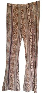 Xhilaration Hippie Yoga Stretch Fishtail Super Flare Pants Pink/Blue/Gold Paisley Boho Print