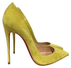 Christian Louboutin Sokate Kate Stiletto Suede Cubiste yellow Pumps