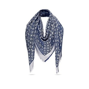 Louis Vuitton Louis Vuitton M71376 Monogram Shawl Scarf, Blue Denim