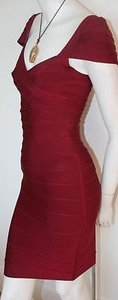 Hervé Leger Dark Maroon Red Stretch Bandage Hansen Dress