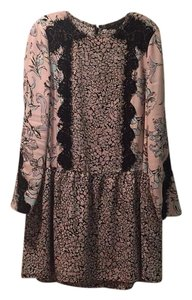 BCBGMAXAZRIA short dress Pink floral with black lace on Tradesy