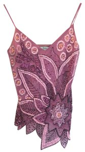 Marciano Embellished Embroidered Sequin Sparkle Top Purple/Pink