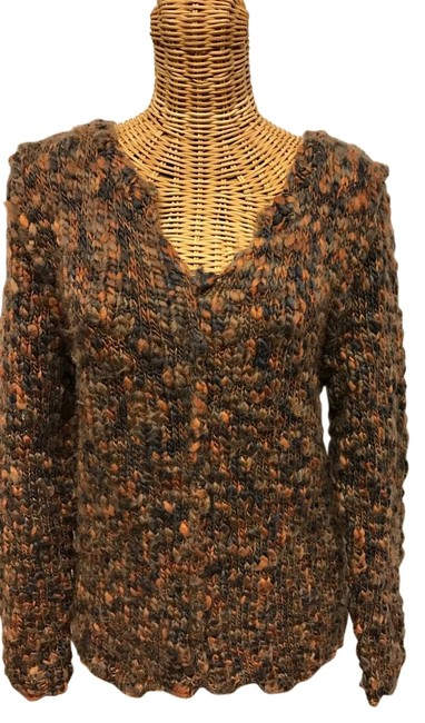 Item - Cable Knit with Tie In Back Rust & Gray Sweater