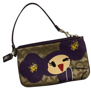 Coach Wristlet in Purple, Tan