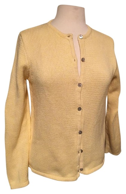 Preload https://img-static.tradesy.com/item/20233458/llbean-yellow-round-neck-button-closure-cotton-cardigan-size-8-m-0-1-650-650.jpg